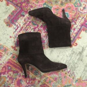 Brown Suede Fold Over Heeled Booties 7